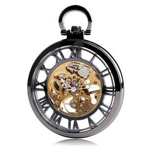 Image 3 - Steampunk Schwarz Skeleton Römischen Zahlen Sehen Durch Taschenuhr Mechanische Hand Wind Fob Uhr Mit Kette Unisex Weihnachten Geschenk
