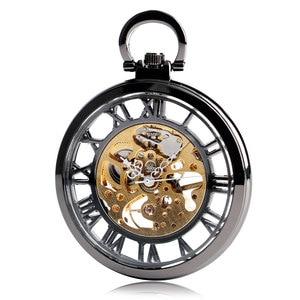 Image 3 - Steampunk negro esqueleto números romanos ver a través del reloj de bolsillo cuerda a mano mecánica reloj Fob con cadena Unisex regalo de Navidad