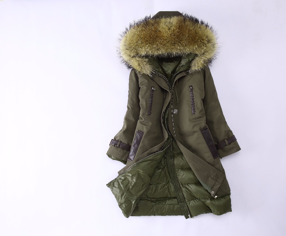 AiyangSilan Parkas Womens Winter Fashion Real Raccoon Fur Collar long sleeve long coat Real rabbit fur Down Inside Winter Warm 2017 winter new clothes to overcome the coat of women in the long reed rabbit hair fur fur coat fox raccoon fur collar