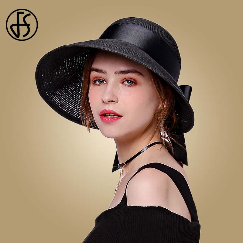 FS 2019 Straw Hat For Women Fashion Wide Brim Sun Visor Beach UV Caps Pink Black Brown Foldable Hats With Bowknot Summer Cap