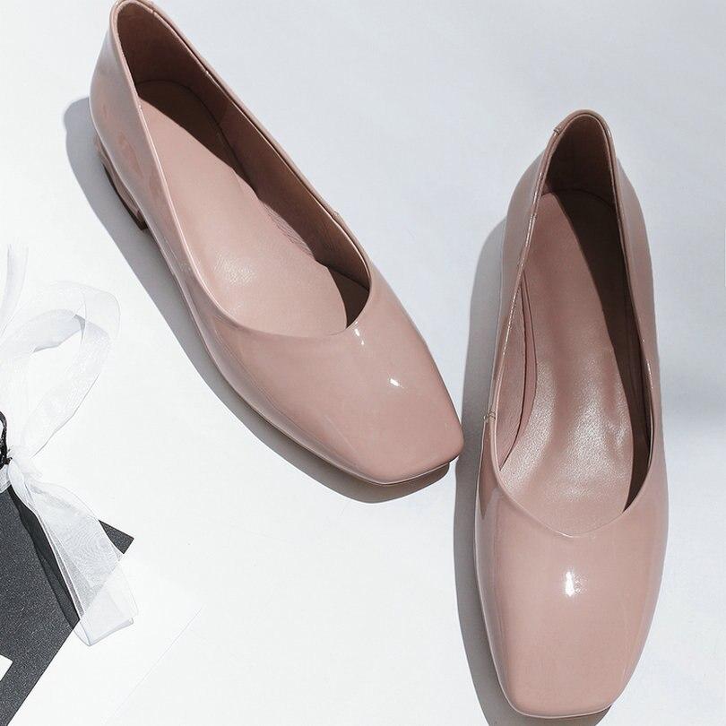 De Mujer Pu Cuero Del Clásico Vaca Zapatos Las Señoras negro Dedo Pie 3 9 Eshtonshero Bombas Tamaño Nude Tacón Bajo Boda Verano Mujeres Cuadrado dqII8