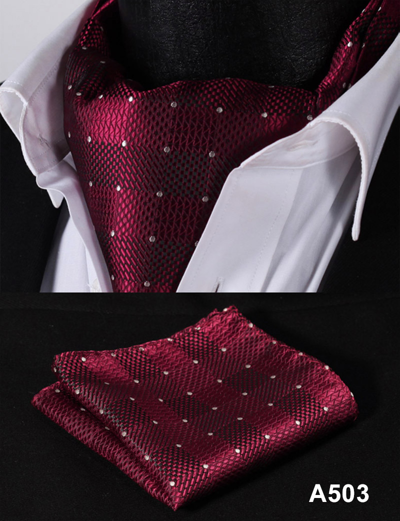 Image 5 - Polka Dot 100%Silk Ascot Pocket Square Cravat, Casual Jacquard Dress Scarves Ties Woven Party Ascot Handkerchief Set #A5-in Men's Ties & Handkerchiefs from Apparel Accessories on AliExpress