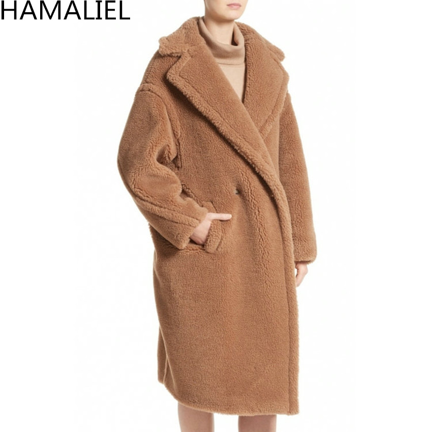 HAMALIEL Runway Winter Women Warm Long Outwerwear 2018 Faux Lambswool Long Sleeve Lapel Collar Loose Thick Female Woollen Coat