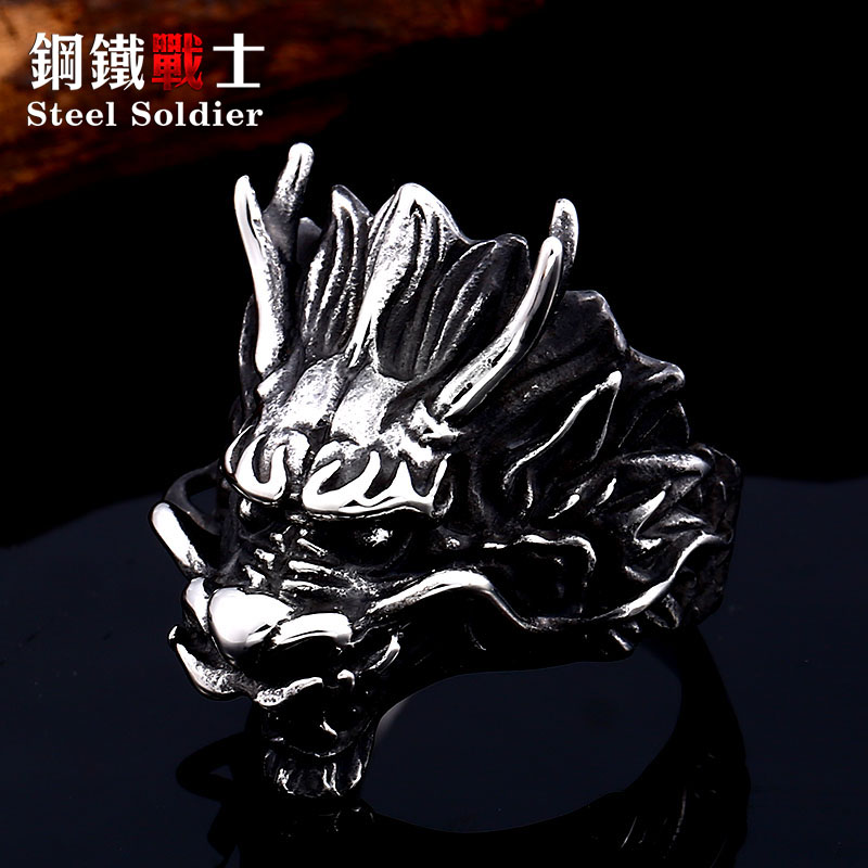Steel soldier ethnic chinese dragon ring for men 316l stainless steel good detail myth personality jewelry(China)