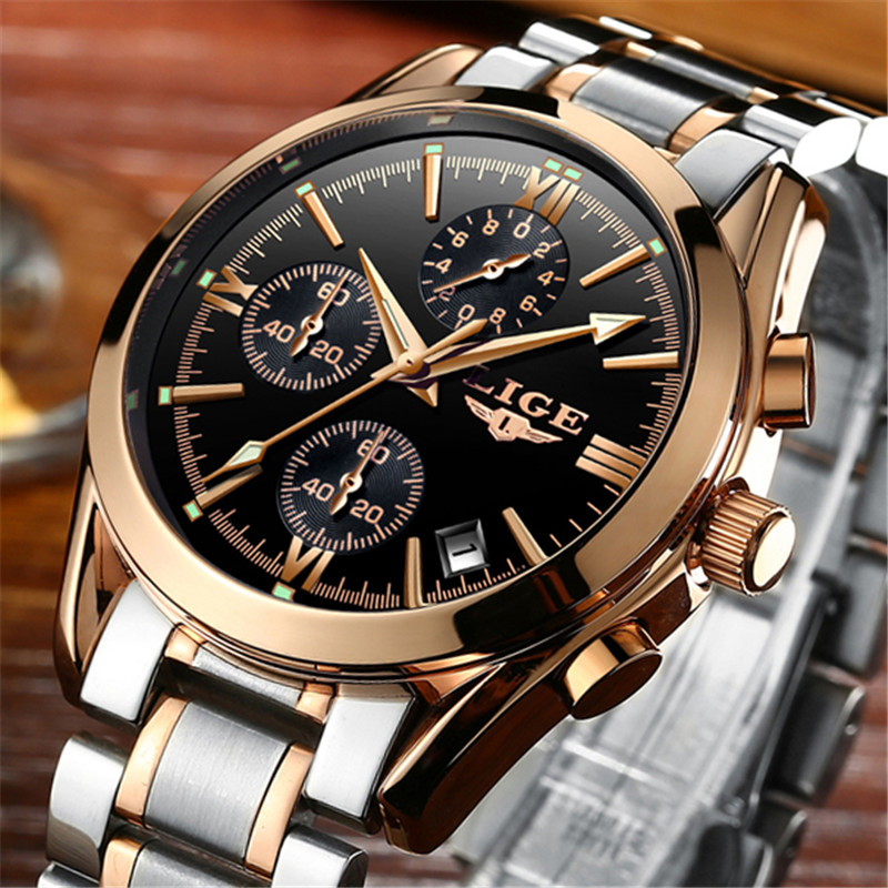 LIGE Mens Watches Top Brand Luxury Military Sport Watch Men Quartz Clock Male Full Steel Business Gold Watches Relogio Masculino binger luxury brand watches men quartz full steel military watch waterproof male business wristwatch clock relogio masculino