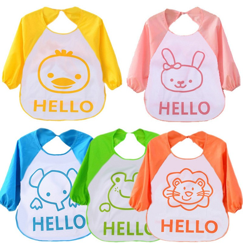 Animal Models Of Baby Bibs Long Sleeve With Waterproof Apron Anti Clothing Food Holding Groove Pocket Baby Eating Overclothes