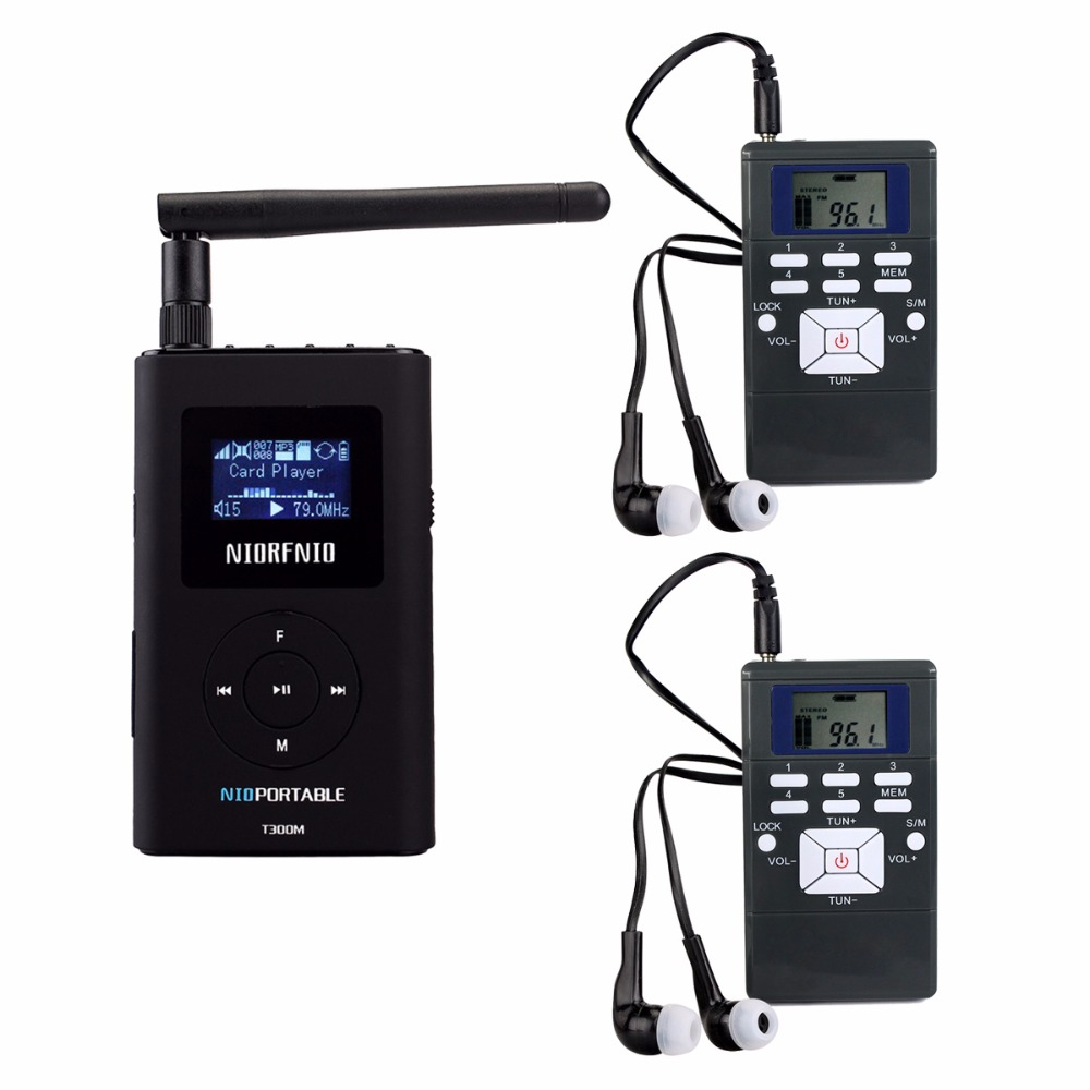 NIORFNIO 1 FM Transmitter+2 FM Radio Receiver Wireless Tour Guide System for Guiding Church Meeting Translation FM Radio Y4305A tp wireless tour guide system for teaching travel simultaneous translation meeting museum visiting 1 transmitter 30 receivers