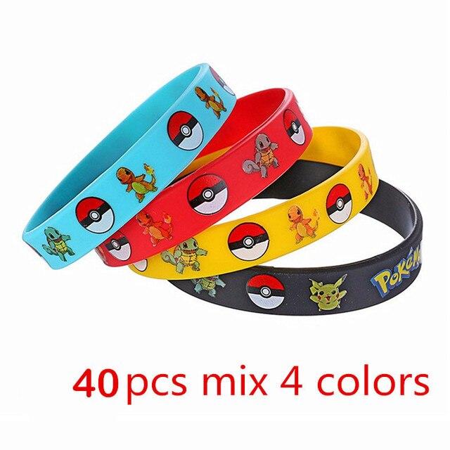 40pieces Pokemon Go Silicone Bracelets Pikachu Pocket Monster Bangles Hologram Wristbands Party Favors Gift
