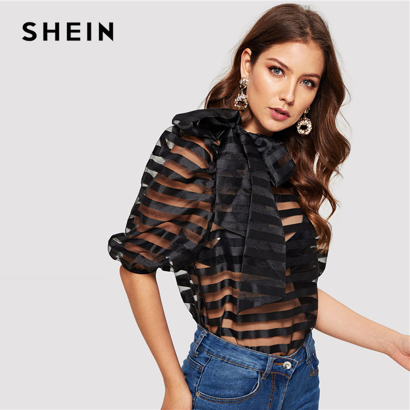 Shein Black Tie Neck Puff Sleeve Striped Sheer Top Without Bra Mesh Blouse Women Spring Sexy High Street Womens Tops And Blouses by She In