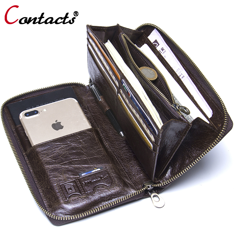 Contact's Genuine Leather Wallet Clutch Men Business Card Holder Passport Phone Cases Wrist Coin Purse Organizer Money Bag Purse simple organizer wallet women long design thin purse female coin keeper card holder phone pocket money bag bolsas portefeuille