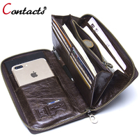 Contact S Genuine Leather Wallet Clutch Men Business Card Holder Passport Phone Cases Wrist Coin Purse