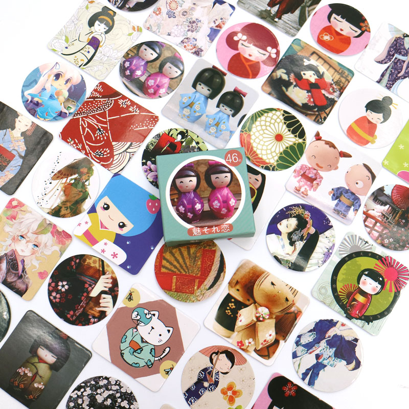 NEW Japanese Doll Paper Sticker Decoration DIY Diary Scrapbooking Planner Gift Packing Seal Kawaii Stationery 46pcs/box