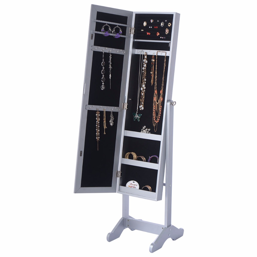 Goplus 145*39*34cm Mirrored Jewelry Armoire Cabinet Powerful Organizer Storage Box with Stand Make Up Mirrors Armoire HB84526