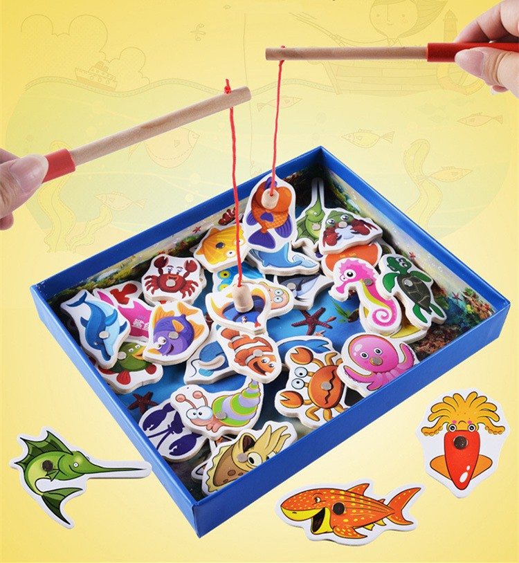 32 Fishes + 2 Fishing Rods Wooden Children Fishing Toys Set Magnetic Play Fishing Game Tin Box Kids Educational Toy Boy girl new 14 fishes 2 fishing rods wooden children toys fish magnetic pesca play fishing game tin box kids educational toy boy girl