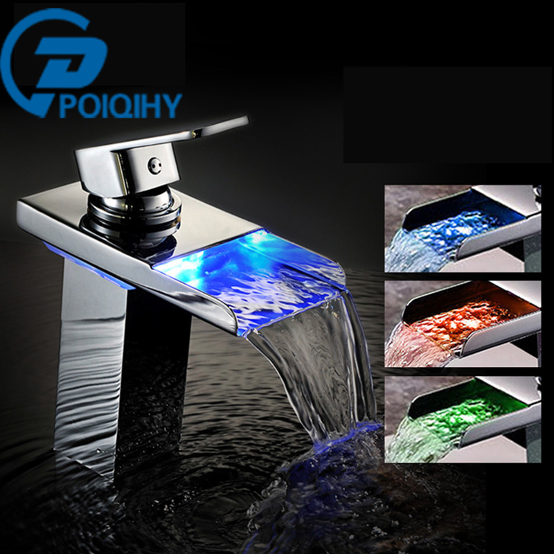 POIQIHHY Led Chrome Bathroom Basin Faucet Deck Mounted Waterfall Faucet Mixer Tap Single Handle Single Hole Led Spout Sink Tap becola basin faucet luxury bathroom golden mixer single handle single hole deck mounted waterfall tap lt 509 free shipping