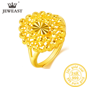 Image 1 - YLJC 24K Pure Gold Ring Real AU 999 Solid Gold Rings Elegant Shiny  Beautiful Upscale Trendy Classic Jewelry Hot Sell New 2020
