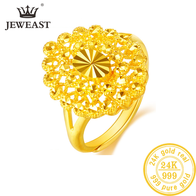 YLJC 24K Pure Gold Ring Real AU 999 Solid Gold Rings Elegant Shiny  Beautiful Upscale Trendy Classic Jewelry Hot Sell New 2020