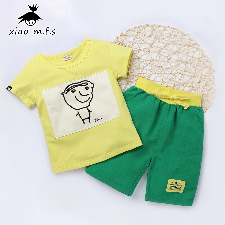 Children T-Shirt + Shorts Sport Suit Clothing Set Kids Clothes For Boys Girls Tracksuit Summer Cotton Outfit 3-7 Years MFS-X8038 2015 new 3 7 years korean children s clothing brand boys 1set 100% cotton summer boys clothing sets kids clothes