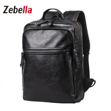 Zebella High Quality PU Leather laptop Book Functional Backpack Teenager Men Casual Waterproof School bags Travel