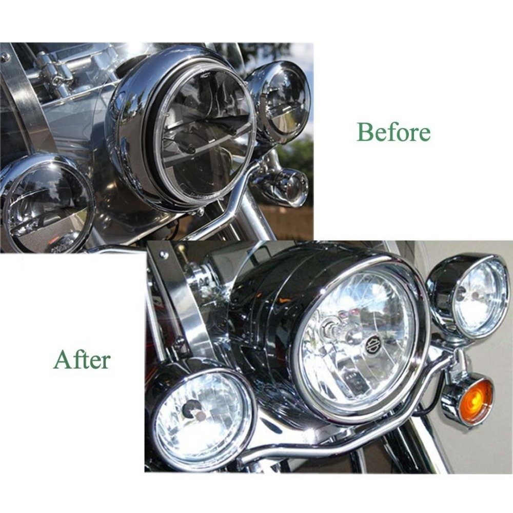 7 Inch Forward Driving Headlamp Trim Ring Visor Harley Touring Road King Electra Glide H4 LED Moto Round Headlight Mount Bracket