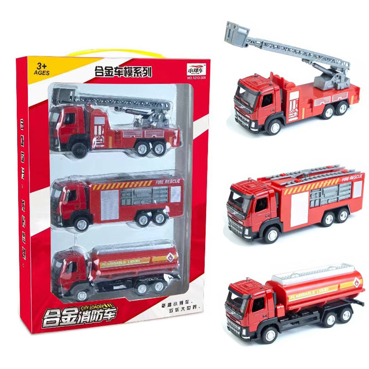 Red 1:50 3pcs/set Alloy Sliding Engineering Military Fire Truck Models Children Cheap Toys Gifts Collections Briquedos