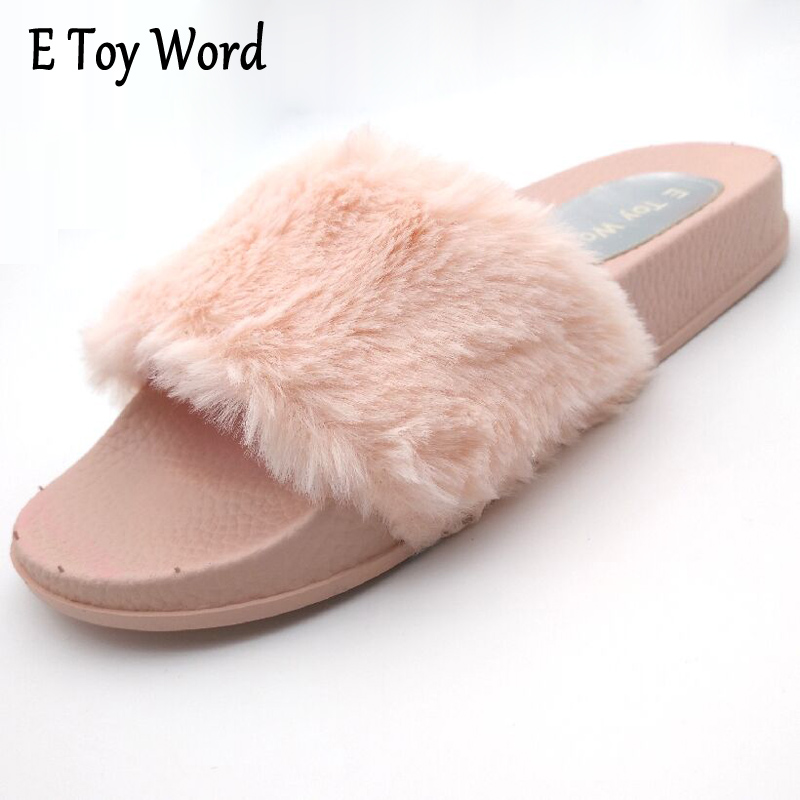 E TOY WORD 2 Colors New Style Women Fur Slippers Sandals 2017 Autumn/Winter High Quality Slippers Plush Warm Indoor Shoes Women segal business writing using word processing ibm wordstar edition pr only