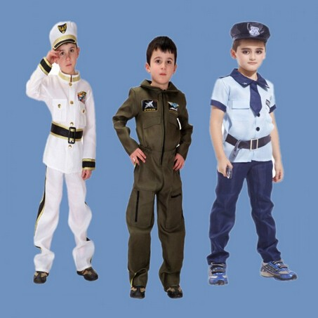 Kids Halloween Carnival Costumes Boys Empty Air Force Girls Flight Attendant Uniform Stage Performance Cosplay Clothing 100-160 Home