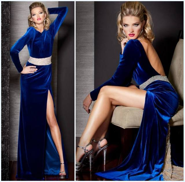 ed29e73a364 Velvet Long Dress Evening Gowns With Long Sleeves And Open Back Sexy Front  Slit Designer Beads Waist Royal Blue Formal Dresses