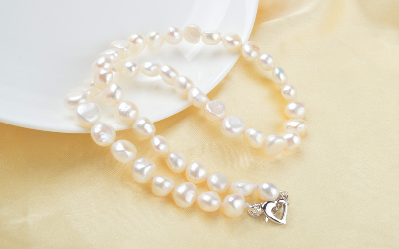 HTB1H2lJJYSYBuNjSspfq6AZCpXag ASHIQI White Natural Baroque pearl choker Necklace 9-10mm Real Freshwater pearl jewelry for women Fashion gift