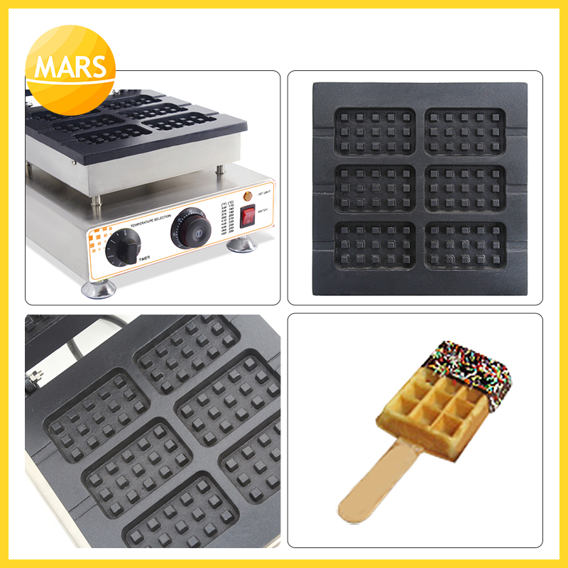 MARS Industrial 6pcs Waffle On A Stick Maker Iron Machine Baker Non-stick Belgium Wafle Maker With CE