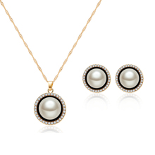 ORNAPEADIA Brand 2018 New high quality Glass Pearl Jewelry set luxury zircon Lady elegant necklace earrings souvenir gift