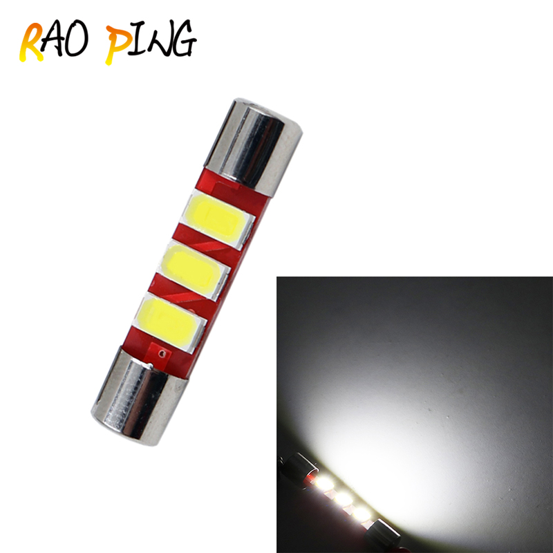 Raoping 5PCS 28mm 5730 3SMD Fuse Vanity Mirror Light Bulb Festoon 6614 Fuse LED Light 6641 Car Interior Sun Visor Vanity Light
