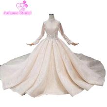 Luxury Crystals Vintage Lace Muslim Wedding Dresses Customized Bridal Gowns 2019 High Collar Long Sleeves Hijab Vestido De Noiva