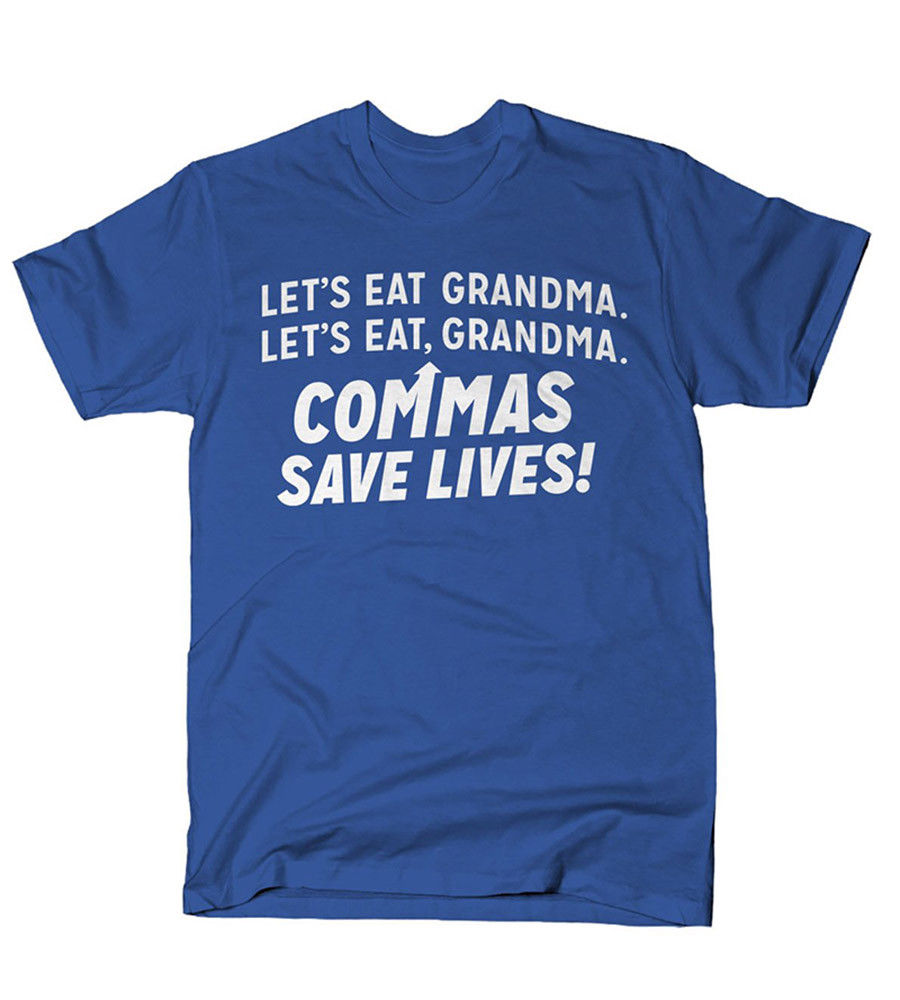 Commas Save Lives! Funny T-Shirts Mens Tee Game Shirt top tee