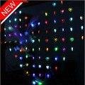 1.2m levou cortina de luz 32 corações stype 9 cores partido liderado natal decoração do casamento luzes lâmpadas transporte da gota