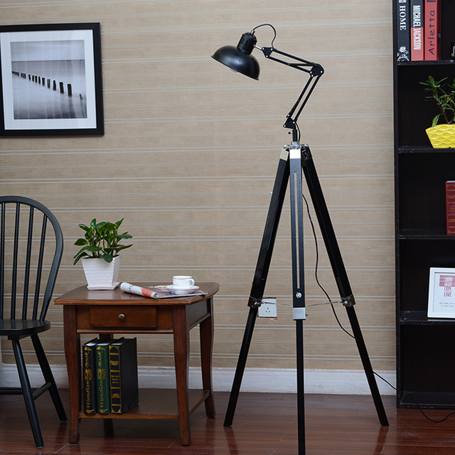 American personality vintage wooden floor lamp lift rocker arm lamp american personality vintage wooden floor lamp lift rocker arm lamp bedroom lamps aloadofball Choice Image
