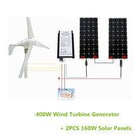 400 Вт/ч гибридная система: 160 Вт Генератор ветровой турбины Вт и 560 Вт моно солнечная панель 12 В в