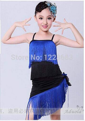 New Arrival Fashion 120cm-180cm Hot Pink Blue Red Top Shorts Scarf Girls Dress Fringe  Women Latin Fringe Dress