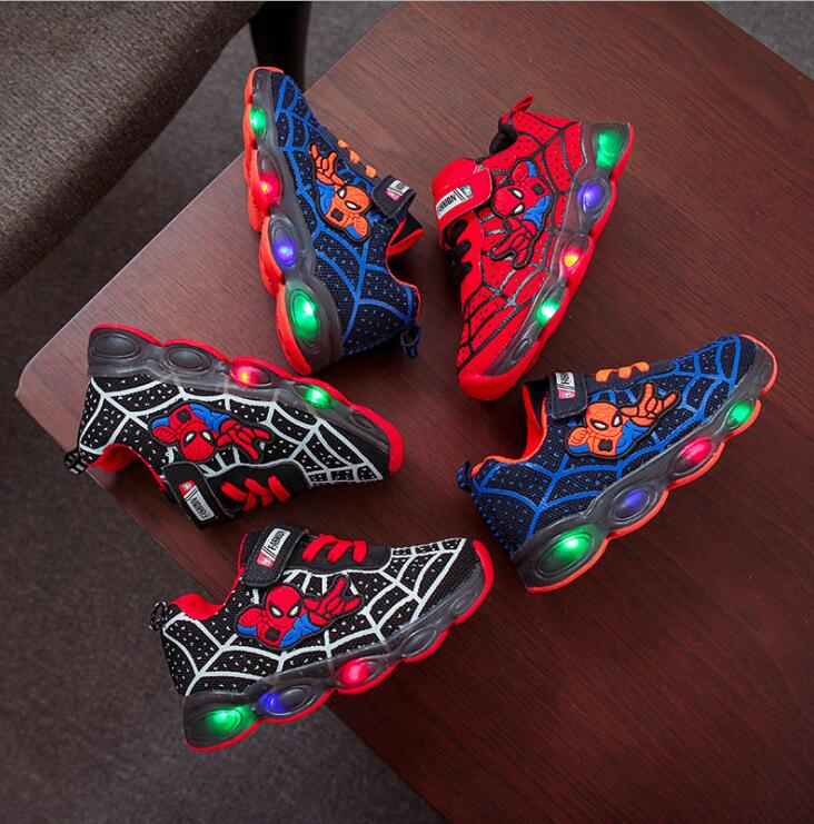 Led Luminous Spiderman Kids Shoes For Boys Girls Light Children Luminous Baby Sneakers Mesh Sport Boy Girl Led Light Shoes(China)