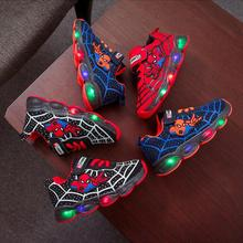 Led luminous Spiderman Kids Shoes for boys girls Light Child