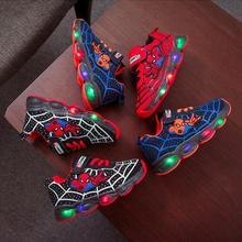 Led luminous Spiderman Kids Shoes for boys girls Light Child