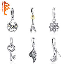 DIY Authentic Jewelry 925 Sterling Silver Crystal Heart Original Charms Beads Fit Pandora Bracelet Pendants With CZ Diamond Gift