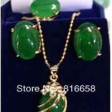 a41d0dfe0f51 Envío libre   exquisito verde Piedra Natural COLLAR COLGANTE pendiente del  anillo Set