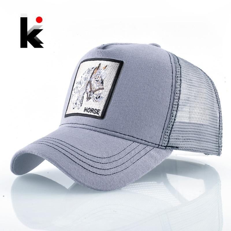 Women Snapback Baseball-Cap Trucker-Caps Mesh Horse-Embroidery Hip-Hop-Bone Fashion Unisex
