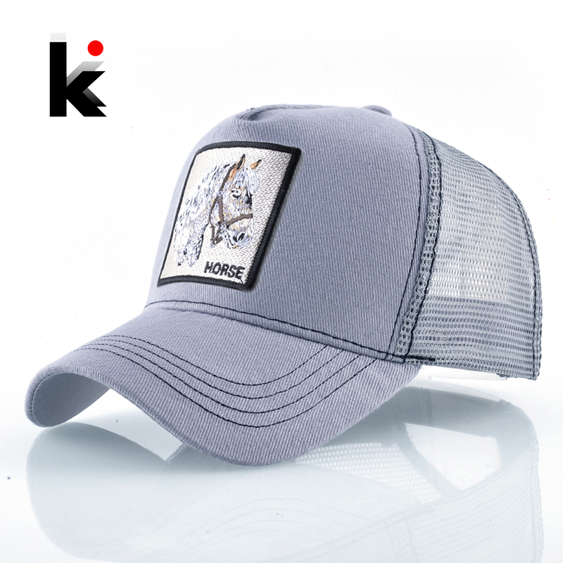 Breathable Mesh   Baseball     Cap   Men Unisex Trucker   Caps   Women Snapback Hip Hop Bone Fashion Horse Embroidery Men's Streatwear Hat
