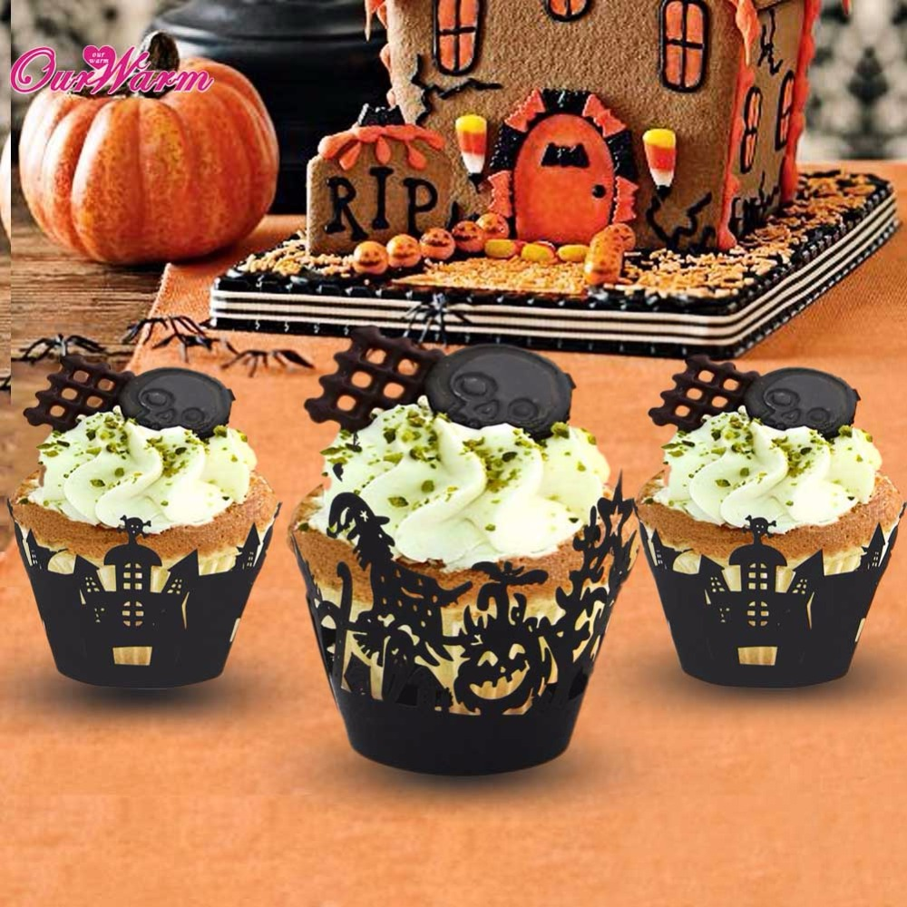 48pcs laser cut cupcake wrappers liners for halloween decorations 2017 thrilling home party cake accessory event party supplies - Halloween Decorations Cupcakes