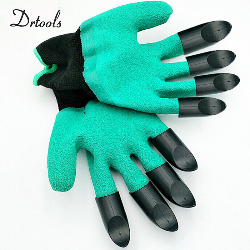 Rubber+Polyester Gardening Gloves 4 ABS 2 Plastic Claws Safety Work Gloves Builders Grip Gardening Dig Planting Gloves GT037