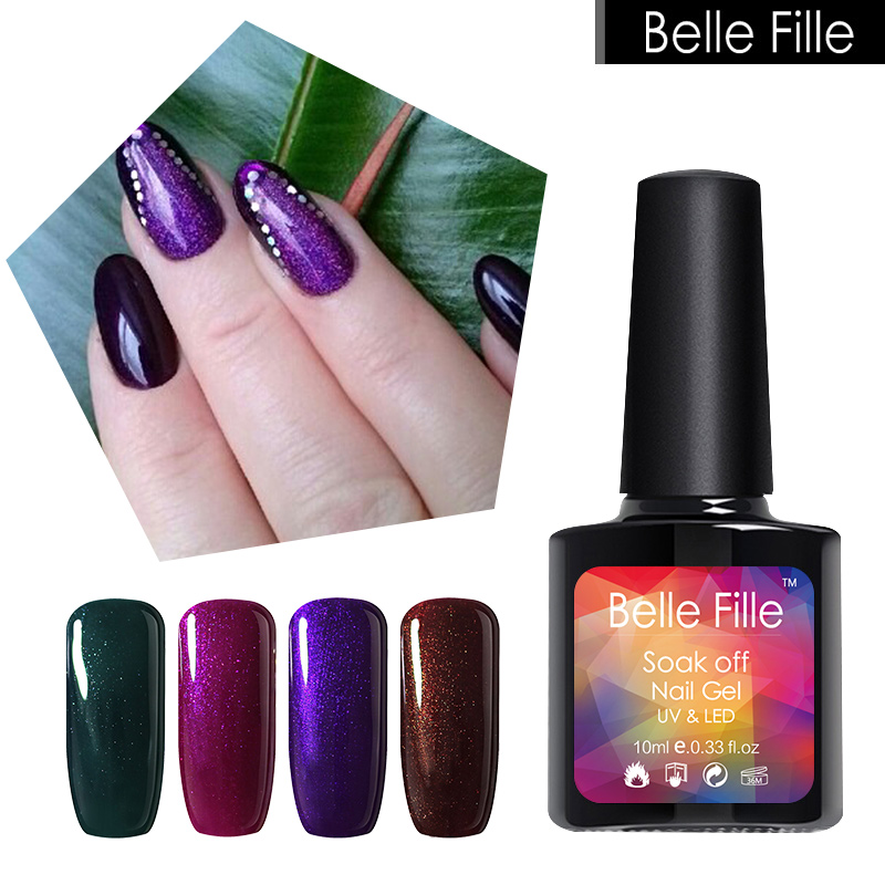 ₪BELLE FILLE Glitter Nail Gel Polish Shining Color Coat Beauty ...