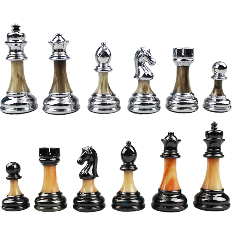 BSTFAMLY Chess Set ABS Plastic Plating Process and Metal Aggravation Chess Pieces High Grade King Height 90mm Chess Game LA100