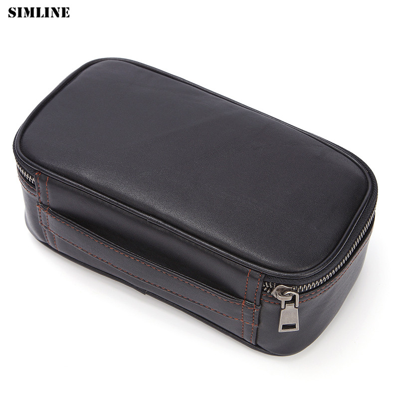 Black Toiletry and Travel Bag Quality Genuine Leather Men/'s Shaving 3 Zipper